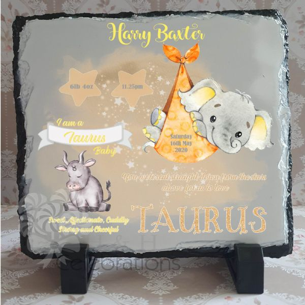 Taurus - Baby Star Sign Keepsake Rock Slate